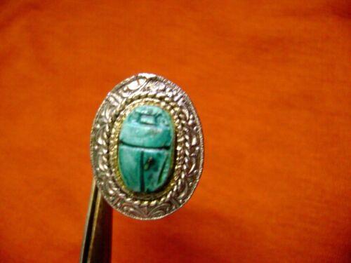 VINTAGE SCARUB BEETLE EGYPTIAN REVIVAL ADJUSTABLE  SILVER TONE  RING- COSTUME