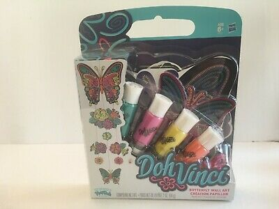 New Doh Vinci Butterfly Wall Art Kit 8 Piece Project String 4 Deco Pop Tubes - Butterfly Art Projects