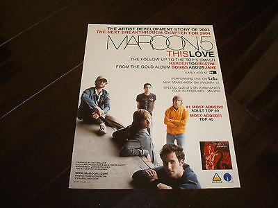 "MAROON 5 2004 ad for ""This Love"" Adam Levine, Jesse Carmichael, Mickey Madden"