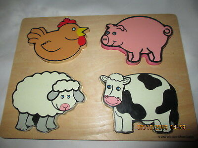 Wooden puzzle 4 piece Farm 2007 Discount School Supply free shipping