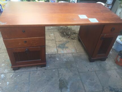 FREE large solid timber study desk FREE