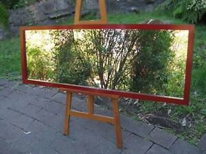 Full Length Wall Mirror Aged Deep Red Timber Frame 157x57cm