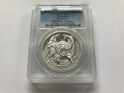 2018 Tanzania Chimera 1500 Shilling 2oz Silver Proof Coin PCGS PR70DCAM FDOI