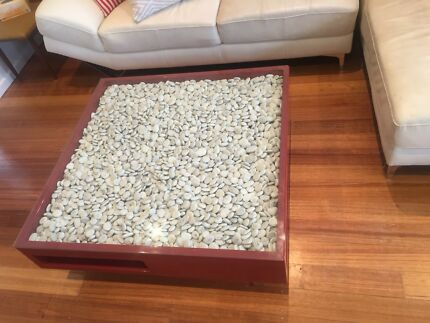 Solid coffee table, amazing quality, beautiful piece!