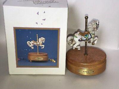 Willitts Music Box Birthday Carousel Horse APRIL (Aries) - Plays APRIL LOVE MIB