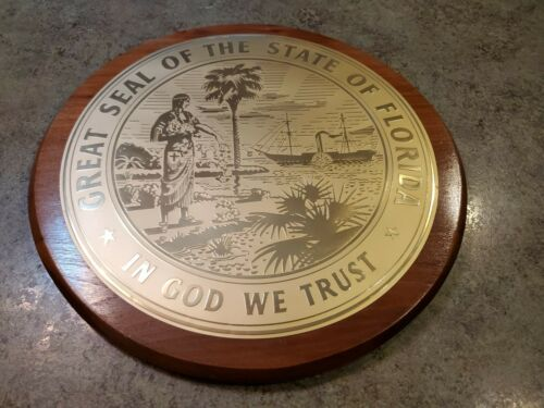 """Vintage GREAT SEAL OF THE STATE OF FLORIDA 3D Thin Metal & Wood Plaque 14"""""""