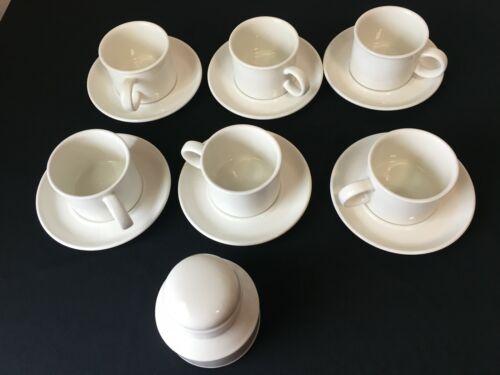 6 SETS ENGLAND MIDWINTER STONEHENGE WEDGWOOD WHITE CUPS & SAUCERS & SUGAR JAR