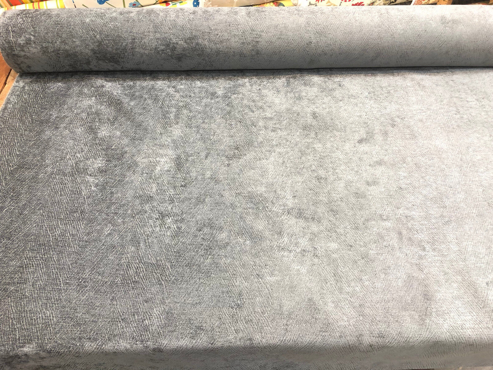 Gray Feather Velvet Upholstery Fabric Italian cut by the yar