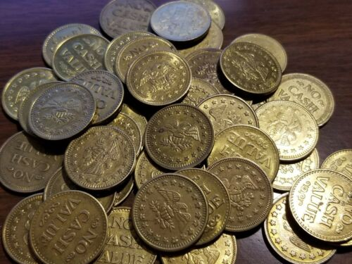 Lot of 50 No Cash Value Brass Tokens - Eagle, Size .900