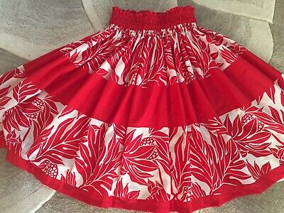 "NEW RED WHITE HAWAIIAN PAU PA'U  HULA SKIRT  28"" LONG MADE IN HAWAII for sale  Honolulu"