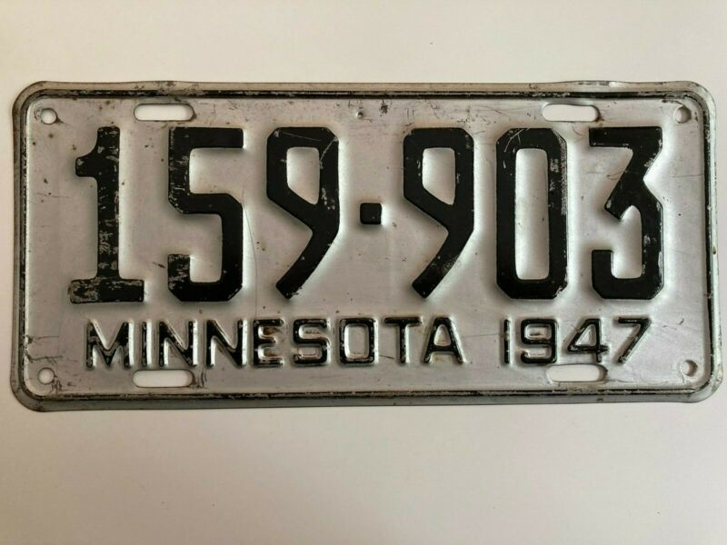 1947 Minnesota License Plate All Original Paint