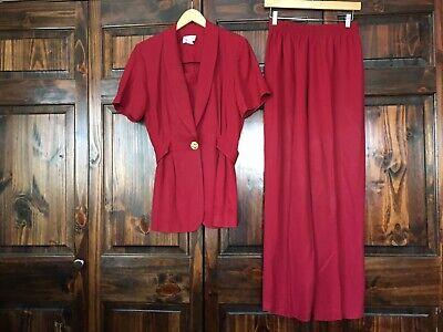 K Studios Vintage Dark Red 2 Short Sleeve Jacket Pants Suit Size 10 Women's