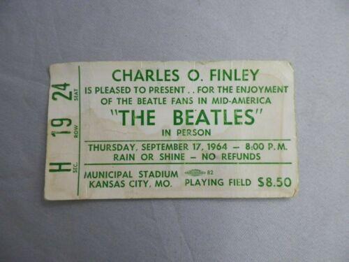 """Vtg September 17, 1964 """"The Beatles"""" Concert Ticket Stub Kansas City, Mo."""