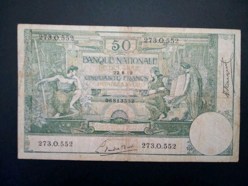 Banknote, Belgium,1919(VF)50 francs.RARE.