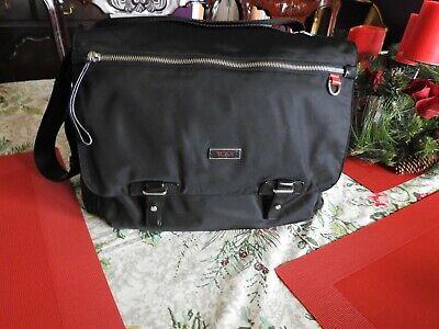 Tumi Voyageur Messenger Bag Purse Black Silver Hardware Ex Condition Large