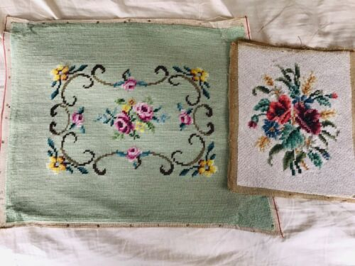 Vintage Needlepoint, 2 Pieces, Completed
