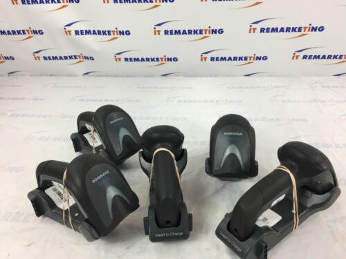 Lot of 5 - Datalogic Gryphon GN4100 Barcode Scanners with BC4030-BK Cradles