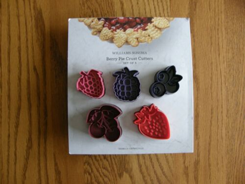 Set 5:Williams Sonoma Berry Pie Crust/Small Cookie Cutters, Cupcake toppers -New