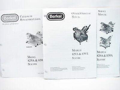 Berkel 829a 839a Slicers Service Manual Owneroperator Manual Parts Manual