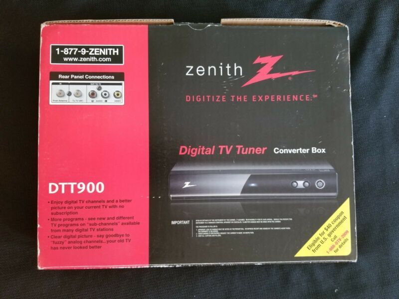 NEW In Box Zenith DTT900 Digital TV Tuner Converter Box With Remote & Cables