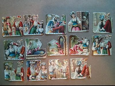 #Original 1800's Fairy Tale Lot of 14 Die Cut Paper 1.5 x 1.5""