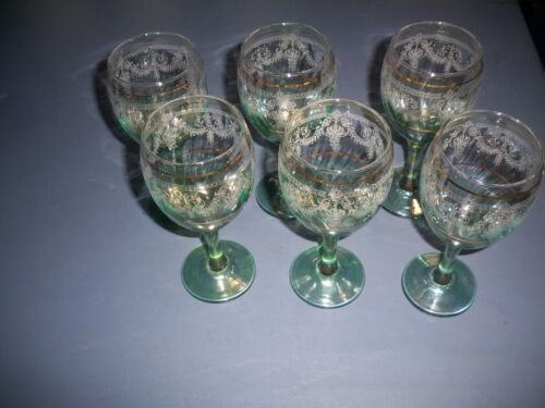 6 Vintage Wine Water Green and Gold Goblets Glasses