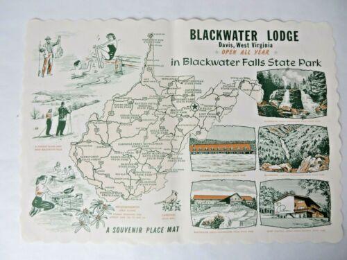 Vtg Paper Souvenir Placemat Blackwater Lodge Davis WV Blkwatr Falls St Pk #11848