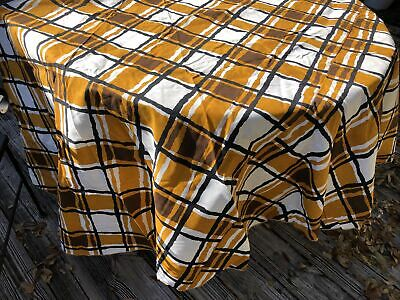 "VTG NWT NOS 60s70s Timely Linens 90"" Rd Cotton Tablecloth Gold Black Plaid MCM"