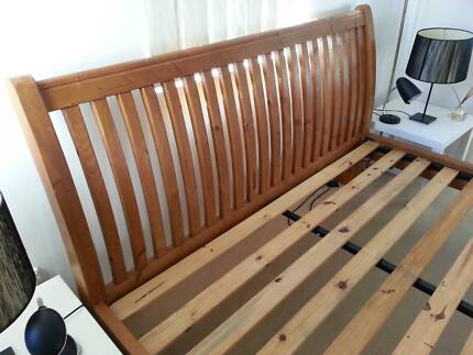 solid wooden king size bed + mattress for sale