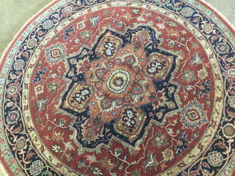 5 X 5 Round Rust Navy Serapi Persian Oriental Rug Hand Knotted Geometric Wool