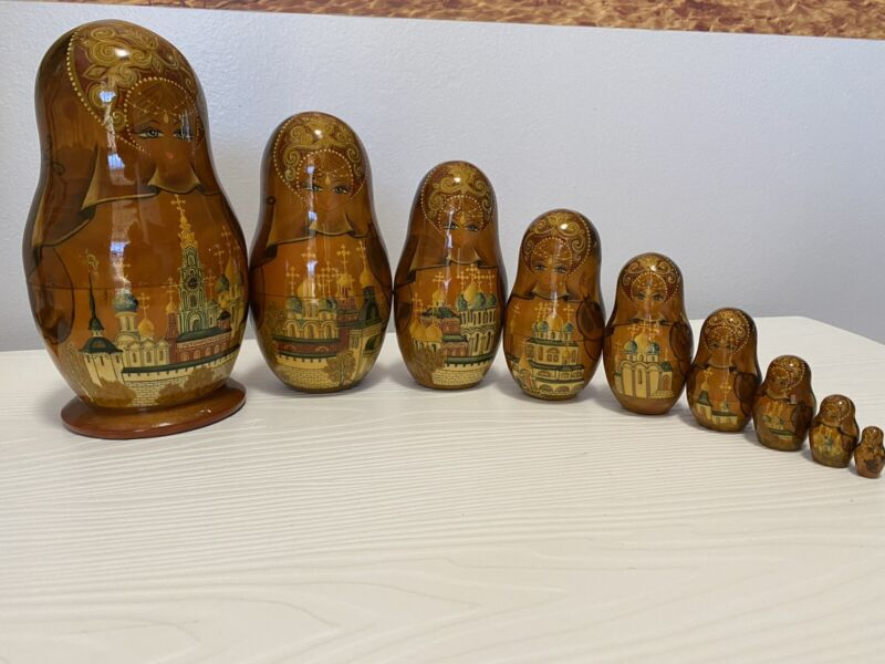 Russian Lacquer Matryoshka Nesting Doll The Trinity Artist Signed Dated 1994