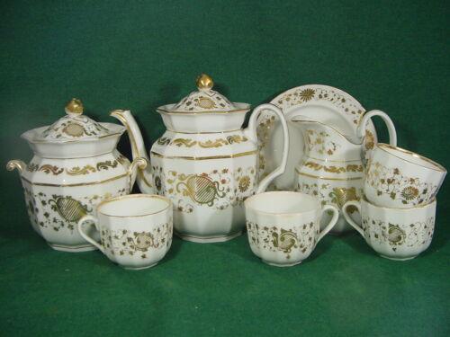 Old Paris antique porcelain tea service set octagonal gilt decoration teapot