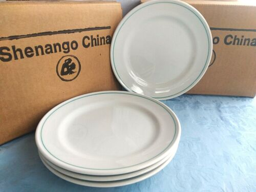 "4 Green Stripe SALAD / LUNCH 8"" Plates - Vintage SHENANGO CHINA Restaurant Ware"