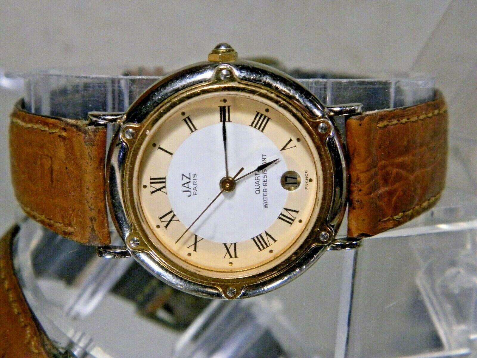 fd970524e54d Detalles acerca de Plata Y Oro Jazz francés Fecha Reloj. banda De Cuero.  Nueva batería. 2 Años De Garantía- mostrar título original