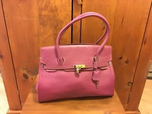 Never Used CNKW Large Pink All Leather Tote Purse Bag