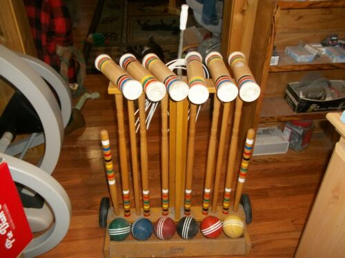 """VINTAGE  FORSTER 6 PLAYER WOODEN CROQUET SET """"COMPLETE""""  With Cart"""