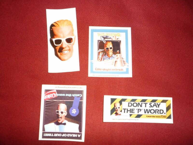 8 Total 2 each of 4 Different Max Headroom Stickers,1980