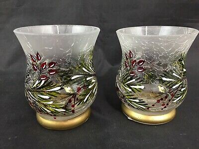 2 Yankee Candle Votive Holders Crackled Glass Winter Sparrow Collection