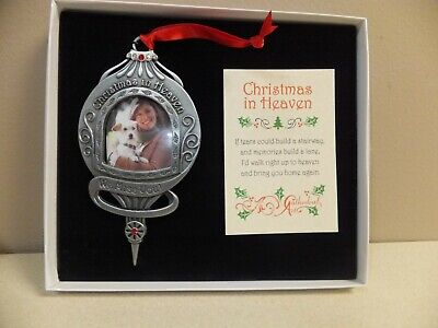 Christmas In Heaven Memorial Ornament Photo Personalize Pewter New