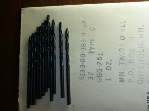 No 37 #37 12 pcs  0.104 Drill bits  Made in the USA NEW drill bit