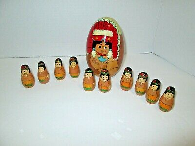 Set American Indian Native Russian Nesting Doll Powwow Chief Spirit Shaman Tribe