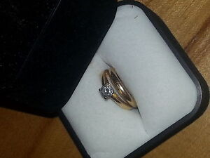 woman's .50q diamond wedding ring and band for sale , size 6.5