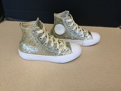 Kids Girls Converse (Kids Girls Converse Chuck Taylor All Star Gold Glitter Rubber Hi Tops. SZ)