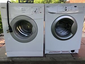 Stackable whirlpool washer and dryer.