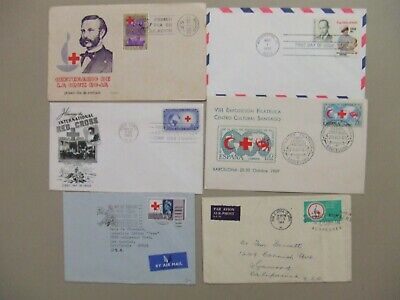 Six RED CROSS  covers with single stamp