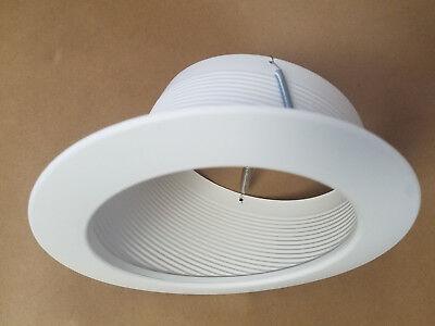 "6"" INCH SLOPE RECESSED CEILING CAN LIGHT STEP TRIM BAFFLE R30 PAR30 WHITE"