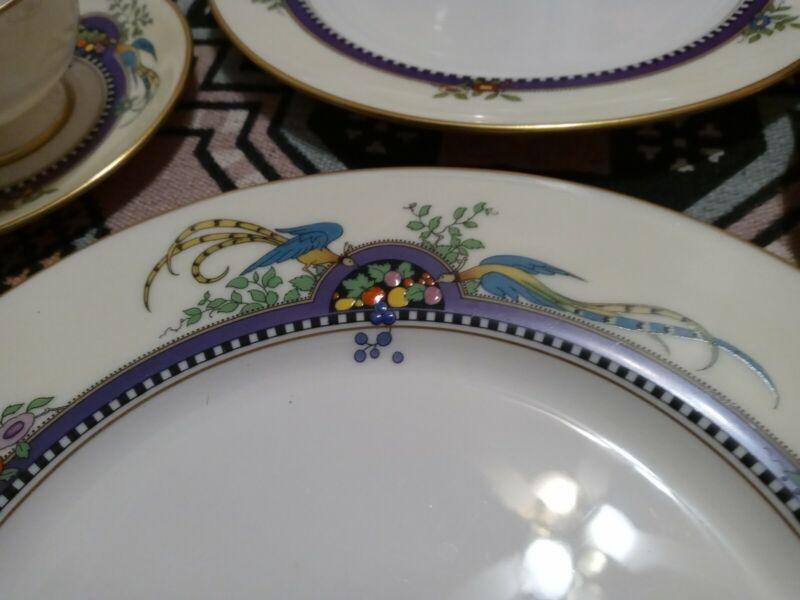 "4- 10.5"" Plates LENOX CHINA FLORIDA BIRDS Dinner enamels purple"