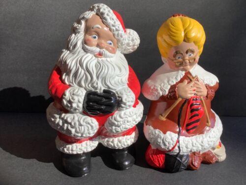 Vintage Ceramic Santa and Mrs Claus 70s Christmas Hobbyist Atlantic Mold