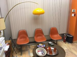 Vintage Orange Brass Pendant Arc Lamp