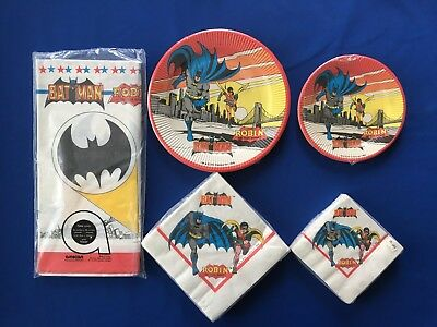Vintage 1972 Batman Party Supplies - Napkins, Plates and Table Cover Store Stock